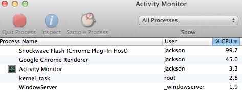 Flash and JavaScript Activity Monitor Screenshot