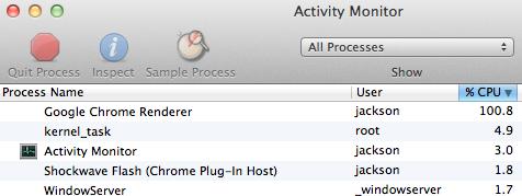 JavaScript Only Activity Monitor Screenshot